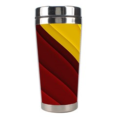 3d Glass Frame With Red Gold Fractal Background Stainless Steel Travel Tumblers by Simbadda