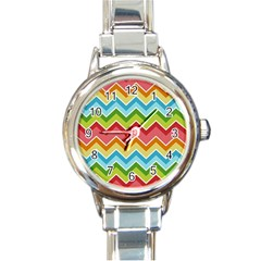 Colorful Background Of Chevrons Zigzag Pattern Round Italian Charm Watch