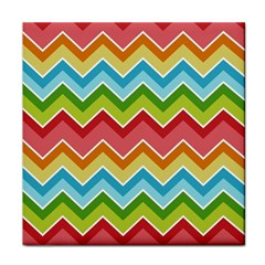 Colorful Background Of Chevrons Zigzag Pattern Tile Coasters by Simbadda