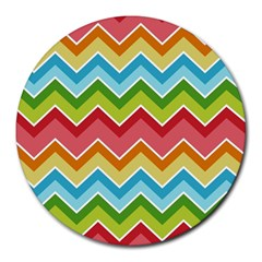 Colorful Background Of Chevrons Zigzag Pattern Round Mousepads by Simbadda