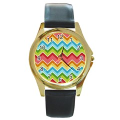 Colorful Background Of Chevrons Zigzag Pattern Round Gold Metal Watch by Simbadda