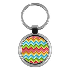 Colorful Background Of Chevrons Zigzag Pattern Key Chains (round)  by Simbadda