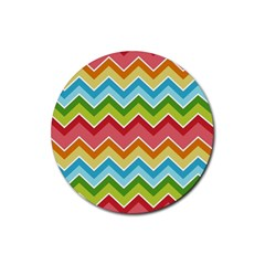 Colorful Background Of Chevrons Zigzag Pattern Rubber Round Coaster (4 Pack)  by Simbadda