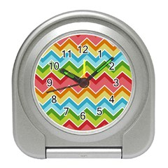 Colorful Background Of Chevrons Zigzag Pattern Travel Alarm Clocks by Simbadda