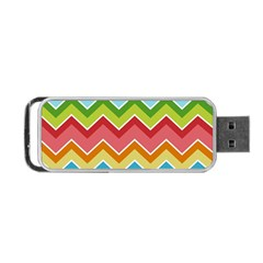 Colorful Background Of Chevrons Zigzag Pattern Portable Usb Flash (two Sides) by Simbadda