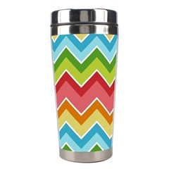 Colorful Background Of Chevrons Zigzag Pattern Stainless Steel Travel Tumblers by Simbadda