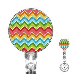 Colorful Background Of Chevrons Zigzag Pattern Stainless Steel Nurses Watch by Simbadda
