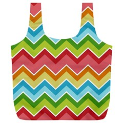 Colorful Background Of Chevrons Zigzag Pattern Full Print Recycle Bags (l)  by Simbadda