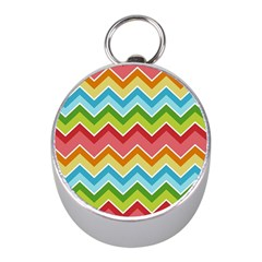 Colorful Background Of Chevrons Zigzag Pattern Mini Silver Compasses