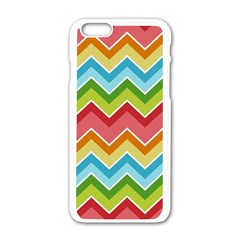 Colorful Background Of Chevrons Zigzag Pattern Apple Iphone 6/6s White Enamel Case by Simbadda