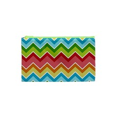 Colorful Background Of Chevrons Zigzag Pattern Cosmetic Bag (xs) by Simbadda