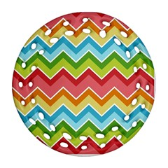 Colorful Background Of Chevrons Zigzag Pattern Round Filigree Ornament (two Sides) by Simbadda