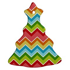 Colorful Background Of Chevrons Zigzag Pattern Christmas Tree Ornament (two Sides) by Simbadda