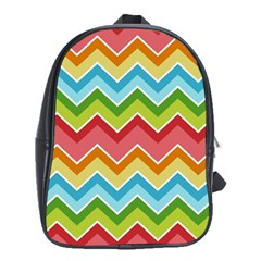 Colorful Background Of Chevrons Zigzag Pattern School Bags (xl)  by Simbadda
