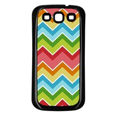 Colorful Background Of Chevrons Zigzag Pattern Samsung Galaxy S3 Back Case (black) by Simbadda