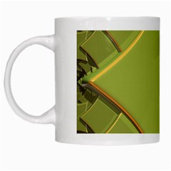 Fractal Green Diamonds Background White Mugs