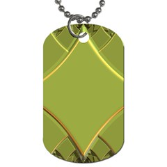 Fractal Green Diamonds Background Dog Tag (two Sides)