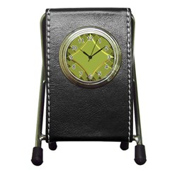 Fractal Green Diamonds Background Pen Holder Desk Clocks
