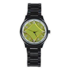 Fractal Green Diamonds Background Stainless Steel Round Watch