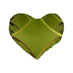 Fractal Green Diamonds Background Standard 16  Premium Flano Heart Shape Cushions by Simbadda