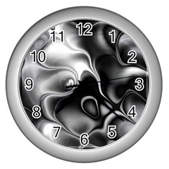 Fractal Black Liquid Art In 3d Glass Frame Wall Clocks (silver)  by Simbadda