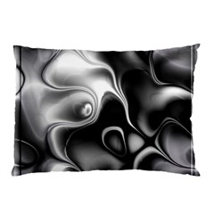 Fractal Black Liquid Art In 3d Glass Frame Pillow Case (two Sides) by Simbadda
