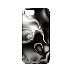 Fractal Black Liquid Art In 3d Glass Frame Apple Iphone 5 Classic Hardshell Case (pc+silicone)
