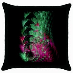 Pink And Green Shapes Make A Pretty Fractal Image Throw Pillow Case (black) by Simbadda