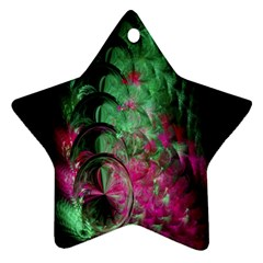 Pink And Green Shapes Make A Pretty Fractal Image Star Ornament (two Sides) by Simbadda