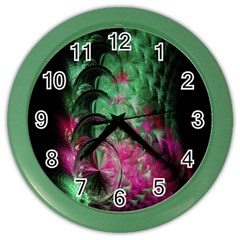 Pink And Green Shapes Make A Pretty Fractal Image Color Wall Clocks by Simbadda