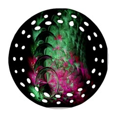 Pink And Green Shapes Make A Pretty Fractal Image Round Filigree Ornament (two Sides)