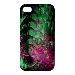 Pink And Green Shapes Make A Pretty Fractal Image Apple Iphone 4/4s Premium Hardshell Case by Simbadda