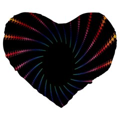 Fractal Black Hole Computer Digital Graphic Large 19  Premium Flano Heart Shape Cushions by Simbadda