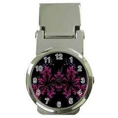 Violet Fractal On Black Background In 3d Glass Frame Money Clip Watches by Simbadda