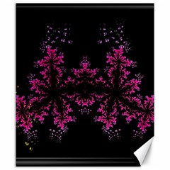 Violet Fractal On Black Background In 3d Glass Frame Canvas 20  X 24   by Simbadda