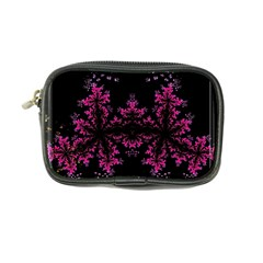 Violet Fractal On Black Background In 3d Glass Frame Coin Purse by Simbadda