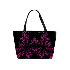 Violet Fractal On Black Background In 3d Glass Frame Shoulder Handbags by Simbadda