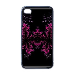 Violet Fractal On Black Background In 3d Glass Frame Apple Iphone 4 Case (black) by Simbadda