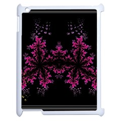 Violet Fractal On Black Background In 3d Glass Frame Apple Ipad 2 Case (white) by Simbadda
