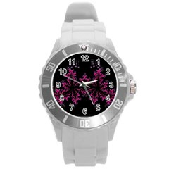 Violet Fractal On Black Background In 3d Glass Frame Round Plastic Sport Watch (l) by Simbadda