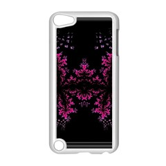 Violet Fractal On Black Background In 3d Glass Frame Apple Ipod Touch 5 Case (white) by Simbadda
