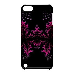 Violet Fractal On Black Background In 3d Glass Frame Apple Ipod Touch 5 Hardshell Case With Stand by Simbadda