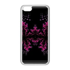 Violet Fractal On Black Background In 3d Glass Frame Apple Iphone 5c Seamless Case (white) by Simbadda