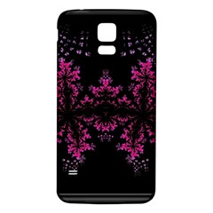 Violet Fractal On Black Background In 3d Glass Frame Samsung Galaxy S5 Back Case (white) by Simbadda