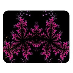 Violet Fractal On Black Background In 3d Glass Frame Double Sided Flano Blanket (large)  by Simbadda