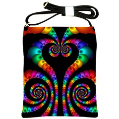 Fractal Drawing Of Phoenix Spirals Shoulder Sling Bags by Simbadda