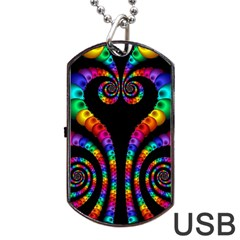 Fractal Drawing Of Phoenix Spirals Dog Tag Usb Flash (two Sides) by Simbadda