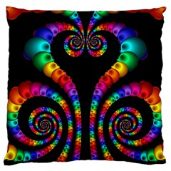 Fractal Drawing Of Phoenix Spirals Large Cushion Case (one Side) by Simbadda