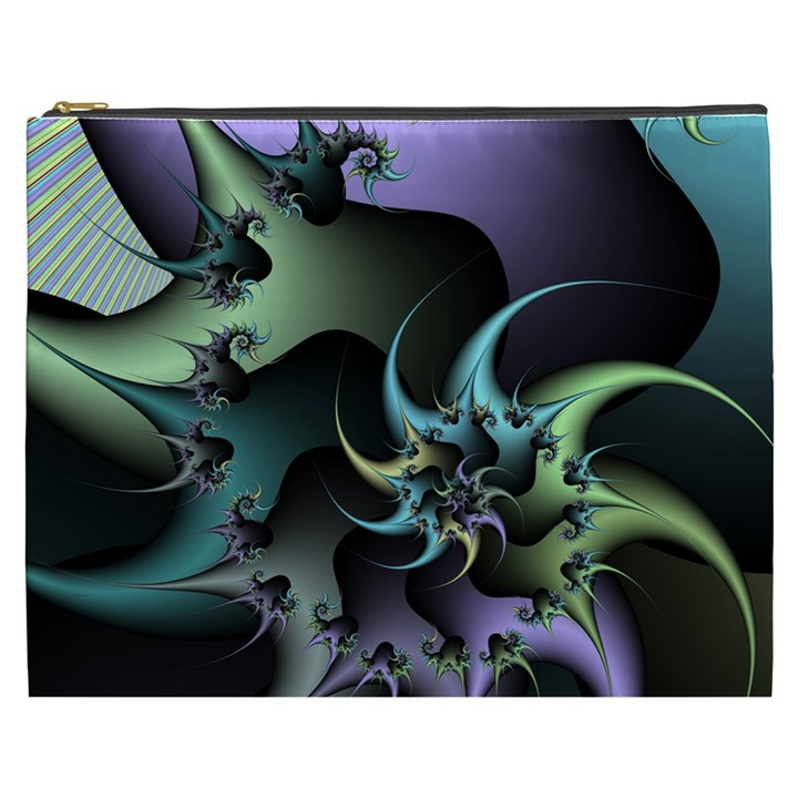 Fractal Image With Sharp Wheels Cosmetic Bag (XXXL)