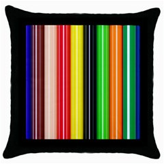 Stripes Colorful Striped Background Wallpaper Pattern Throw Pillow Case (black) by Simbadda